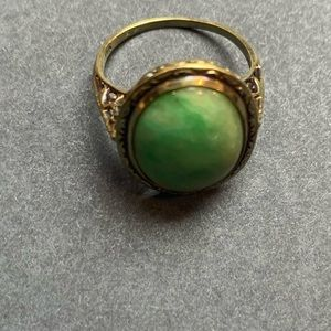 14k and natural jadeite ring